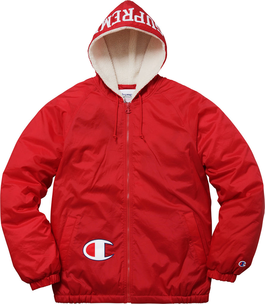 Supreme x Champion Sherpa Lined Hooded Jacket – The MclarenKickShop 9cdf02289a