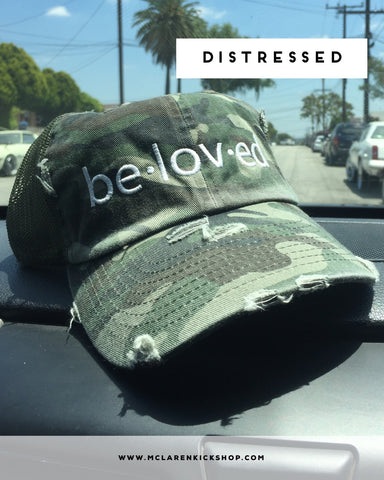 Beloved Distressed Dad Hat (Camo)