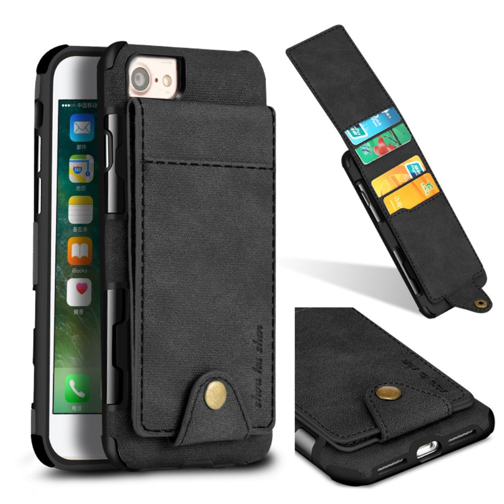 Leather Coated PC TPU Hybrid Case with Card Slots for iPhone