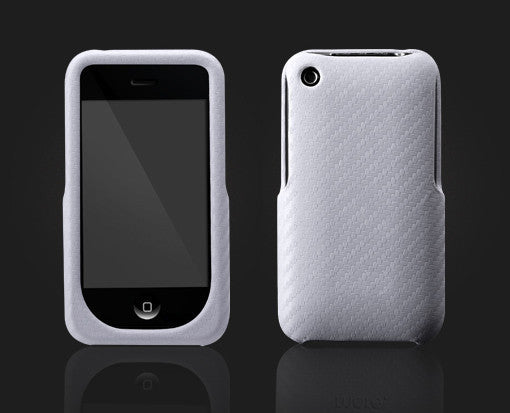 Carbon Fiber Leather Case white for iPhone 3GS 3G - iPhone Accessories - iPhone 3G 3GS Cases & Covers NZ - 1