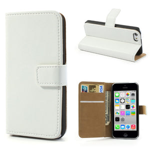 Genuine Split Leather iPhone 5C Wallet Case - White - iPhone Accessories - iPhone 5C Case | iPhone 5C Cover - 1