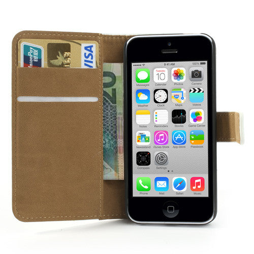 Genuine Split Leather iPhone 5C Wallet Case - White - iPhone Accessories - iPhone 5C Case | iPhone 5C Cover - 2
