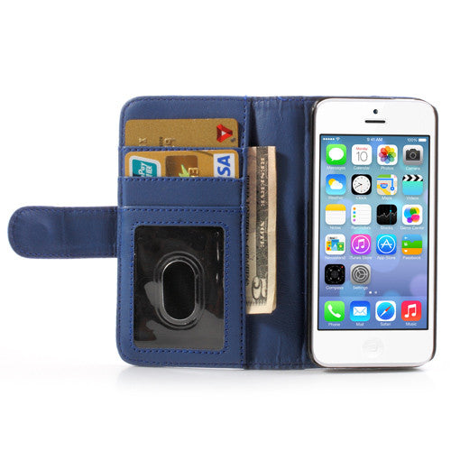 PU Leather Flip Wallet iPhone 5C Case - Blue - iPhone Accessories - iPhone 5C Case | iPhone 5C Cover - 6
