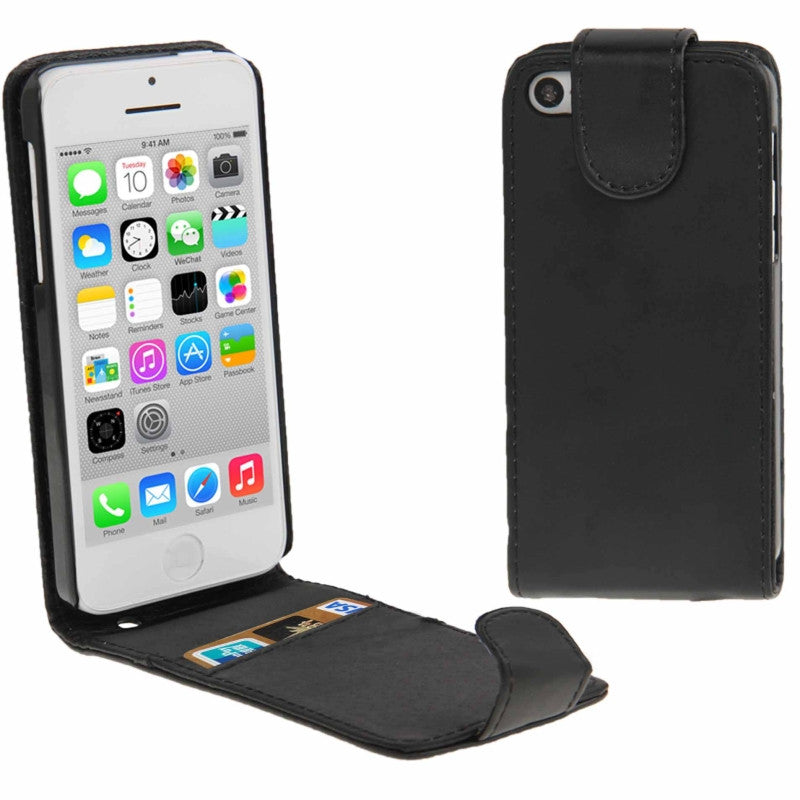 Soft PU Leather iPhone 5C Flip Case Cover - Black - iPhone Accessories - iPhone 5C Case | iPhone 5C Cover - 1