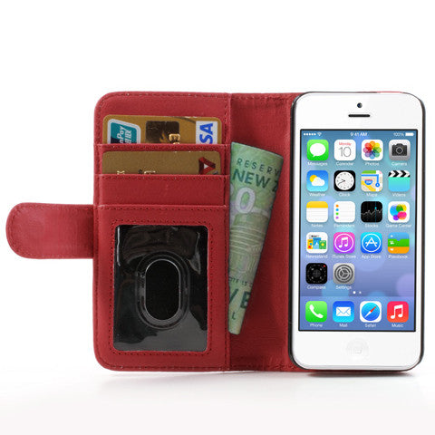 PU Leather Flip Wallet iPhone 5C Case - Red - iPhone Accessories - iPhone 5C Case | iPhone 5C Cover - 1