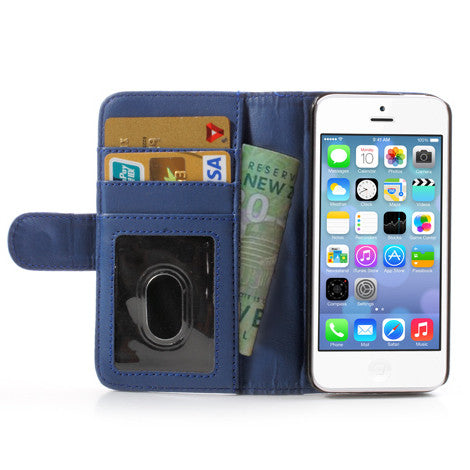 PU Leather Flip Wallet iPhone 5C Case - Blue - iPhone Accessories - iPhone 5C Case | iPhone 5C Cover - 1