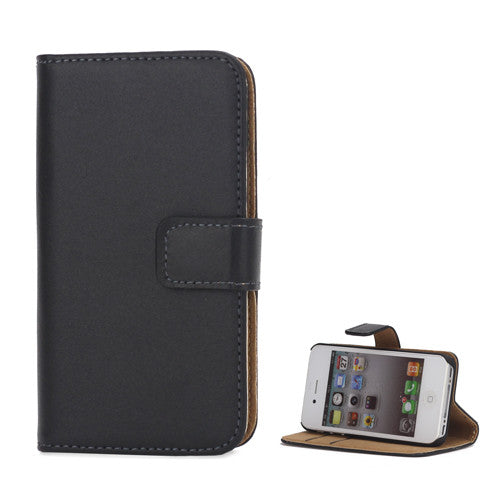 Genuine Split Leather Wallet Case for iPhone 4 4S Black - iPhone Accessories - iPhone 4 Cases | iPhone 4S Case - 2