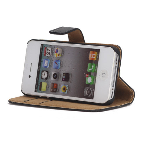 Genuine Split Leather Wallet Case for iPhone 4 4S Black - iPhone Accessories - iPhone 4 Cases | iPhone 4S Case - 1