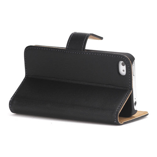 Genuine Split Leather Wallet Case for iPhone 4 4S Black - iPhone Accessories - iPhone 4 Cases | iPhone 4S Case - 5