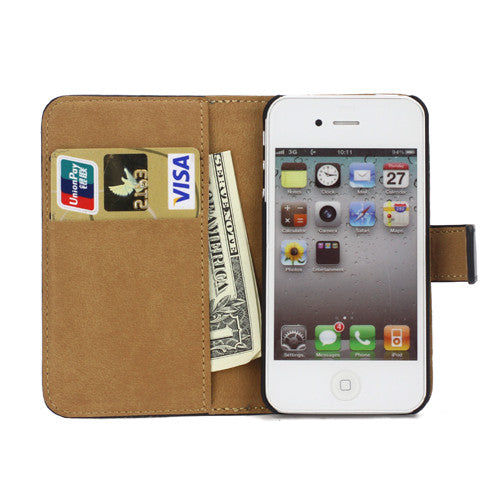 Genuine Split Leather Wallet Case for iPhone 4 4S Black - iPhone Accessories - iPhone 4 Cases | iPhone 4S Case - 3
