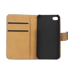 Genuine Split Leather Wallet Case for iPhone 4 4S Black - iPhone Accessories - iPhone 4 Cases | iPhone 4S Case - 6