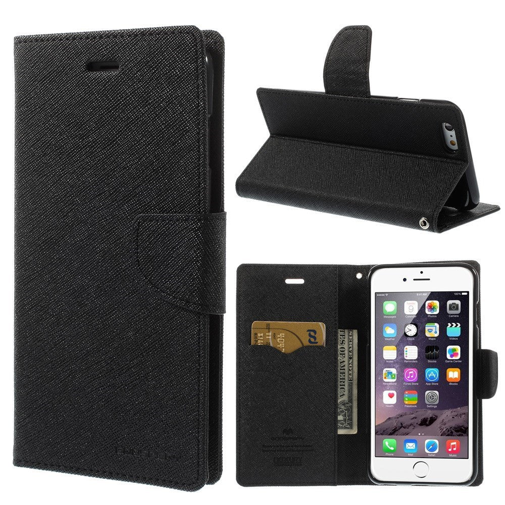 Mercury PU Leather Wallet case iPhone 6/6S Plus Black - iPhone Accessories - iPhone 6 Plus Case | iPhone 6S Plus Case - 1