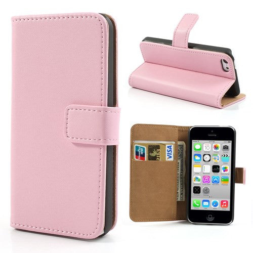 Genuine Split Leather iPhone 5C Wallet Case - Pink - iPhone Accessories - iPhone 5C Case | iPhone 5C Cover - 1