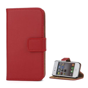Genuine Split Leather Wallet Case for iPhone 4 4S Red - iPhone Accessories - iPhone 4 Cases | iPhone 4S Case - 1