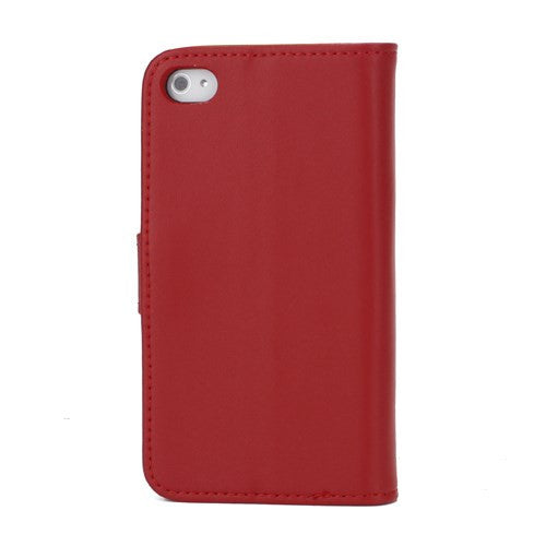 Genuine Split Leather Wallet Case for iPhone 4 4S Red - iPhone Accessories - iPhone 4 Cases | iPhone 4S Case - 2