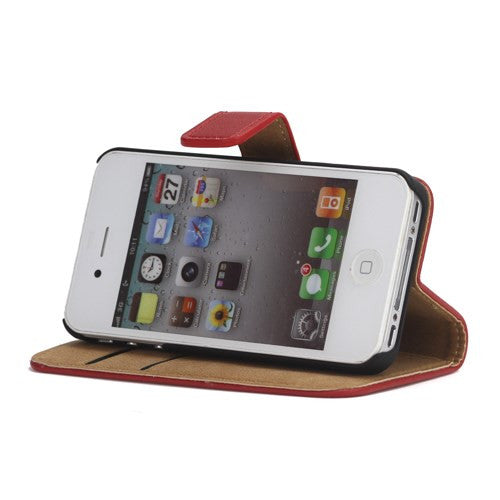 Genuine Split Leather Wallet Case for iPhone 4 4S Red - iPhone Accessories - iPhone 4 Cases | iPhone 4S Case - 3