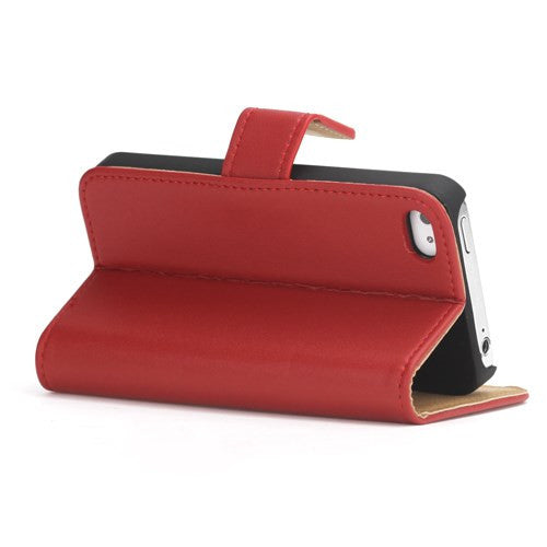 Genuine Split Leather Wallet Case for iPhone 4 4S Red - iPhone Accessories - iPhone 4 Cases | iPhone 4S Case - 4