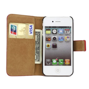 Genuine Split Leather Wallet Case for iPhone 4 4S Red - iPhone Accessories - iPhone 4 Cases | iPhone 4S Case - 5
