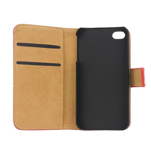 Genuine Split Leather Wallet Case for iPhone 4 4S Red - iPhone Accessories - iPhone 4 Cases | iPhone 4S Case - 6
