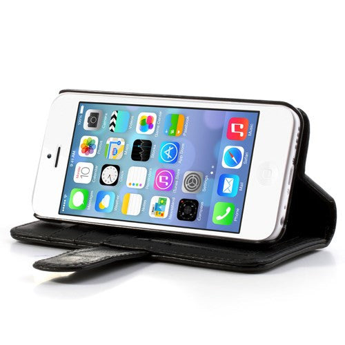 PU Leather Flip Wallet iPhone 5C Case - Black - iPhone Accessories - iPhone 5C Case | iPhone 5C Cover - 3