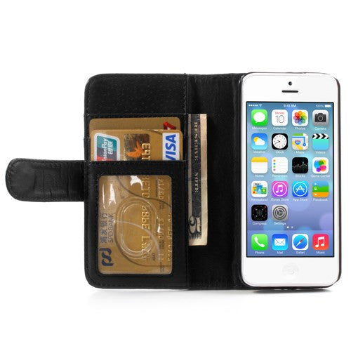 PU Leather Flip Wallet iPhone 5C Case - Black - iPhone Accessories - iPhone 5C Case | iPhone 5C Cover - 5
