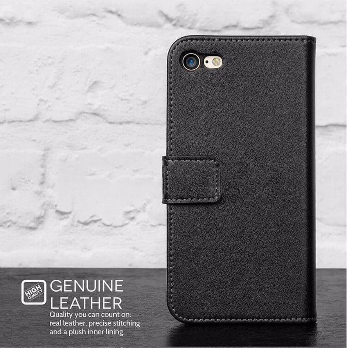 Genuine Leather Flip Wallet Case with Cash / Card Slots For Apple iPhone 6