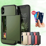 Armor Slide Card Case For iPhone with Card Slot Holder