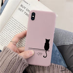 Cartoon Cat Soft TPU Case For iPhone Matte Back Coque