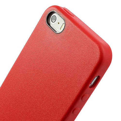 TPU Leather Trim iPhone SE / 5 / 5S Case Cover - Red - iPhone Accessories - iPhone SE Case | iPhone 5 5S Cases - 5