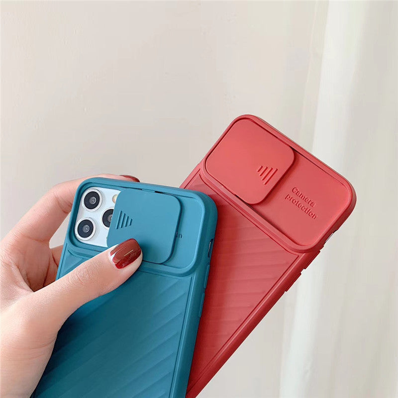 Sliding Door Design Lens Cover TPU Silicone iPhone Case