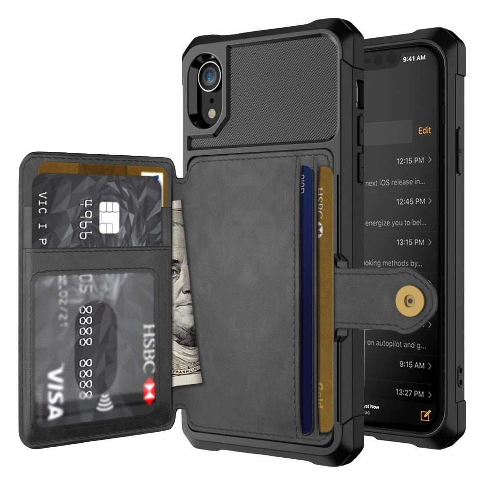 Luxury PU Leather Wallet for iPhone Flip Cover case