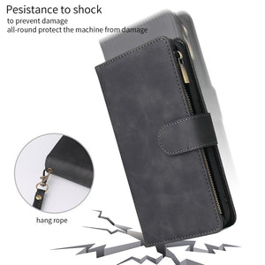 Zipper Flip Wallet Case Magnetic Luxury Leather Cover For iPhone
