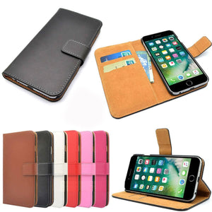 Genuine Leather Flip Wallet Case with Cash / Card Slots For Apple iPhone 8