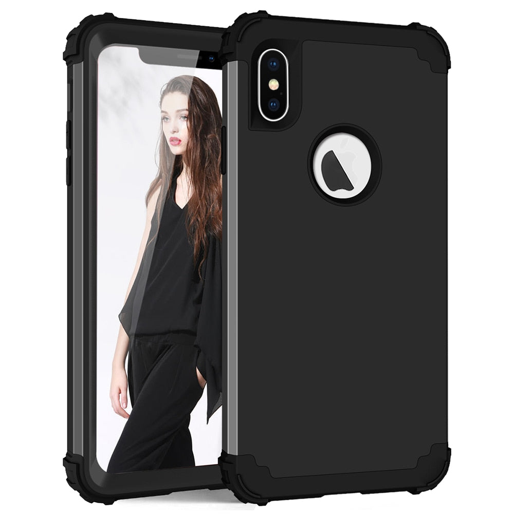 3-Layers Hybrid Shockproof 360 Full Body Case for iPhone