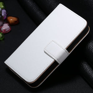 Genuine Split Leather Wallet Case for iPhone 4 4S - White