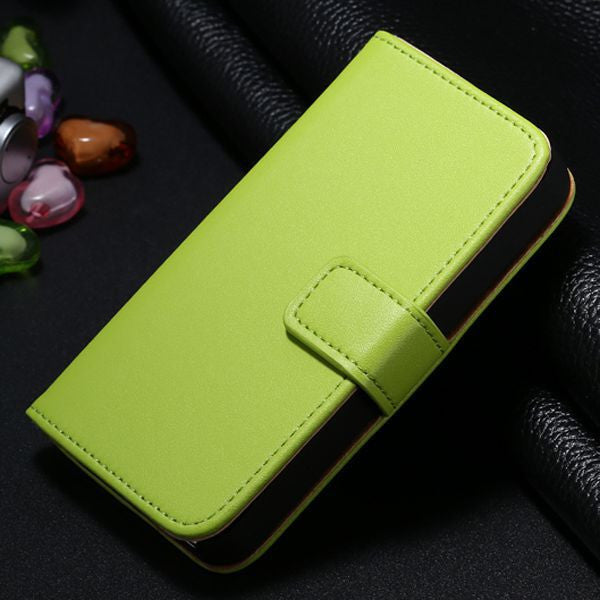 Genuine Split Leather Wallet Case for iPhone 4 4S - Green