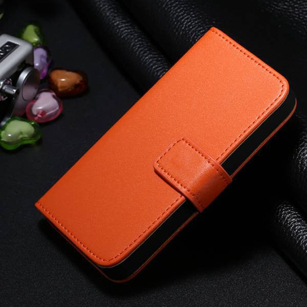 Genuine Split Leather Wallet Case for iPhone 4 4S - Orange