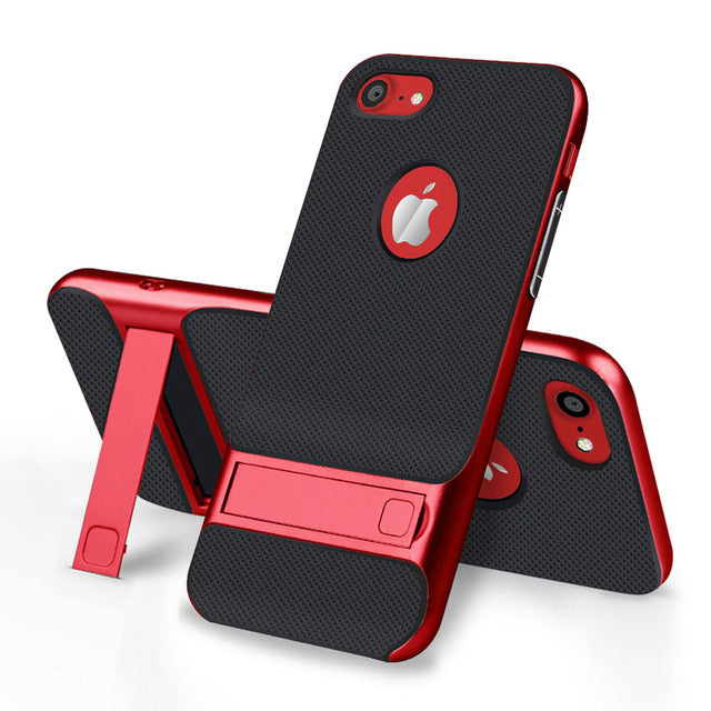 Ultra-thin 3in1 Plating Shockproof Armour Case for iPhone with Stand Holder