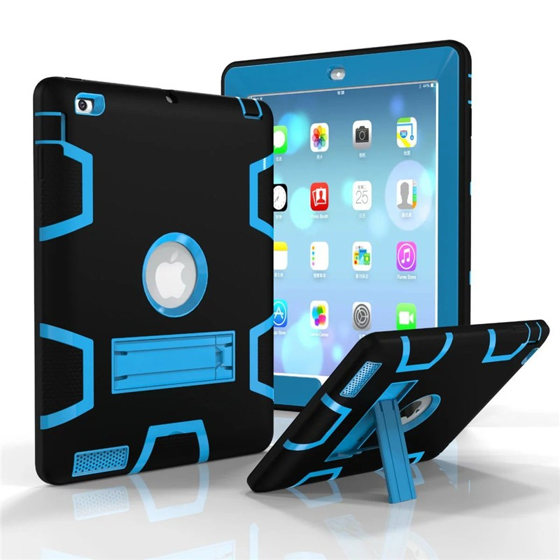 Kids Safe Armour Shockproof Heavy Duty Silicon+PC Stand Case Cover For Apple iPad 2 3 4