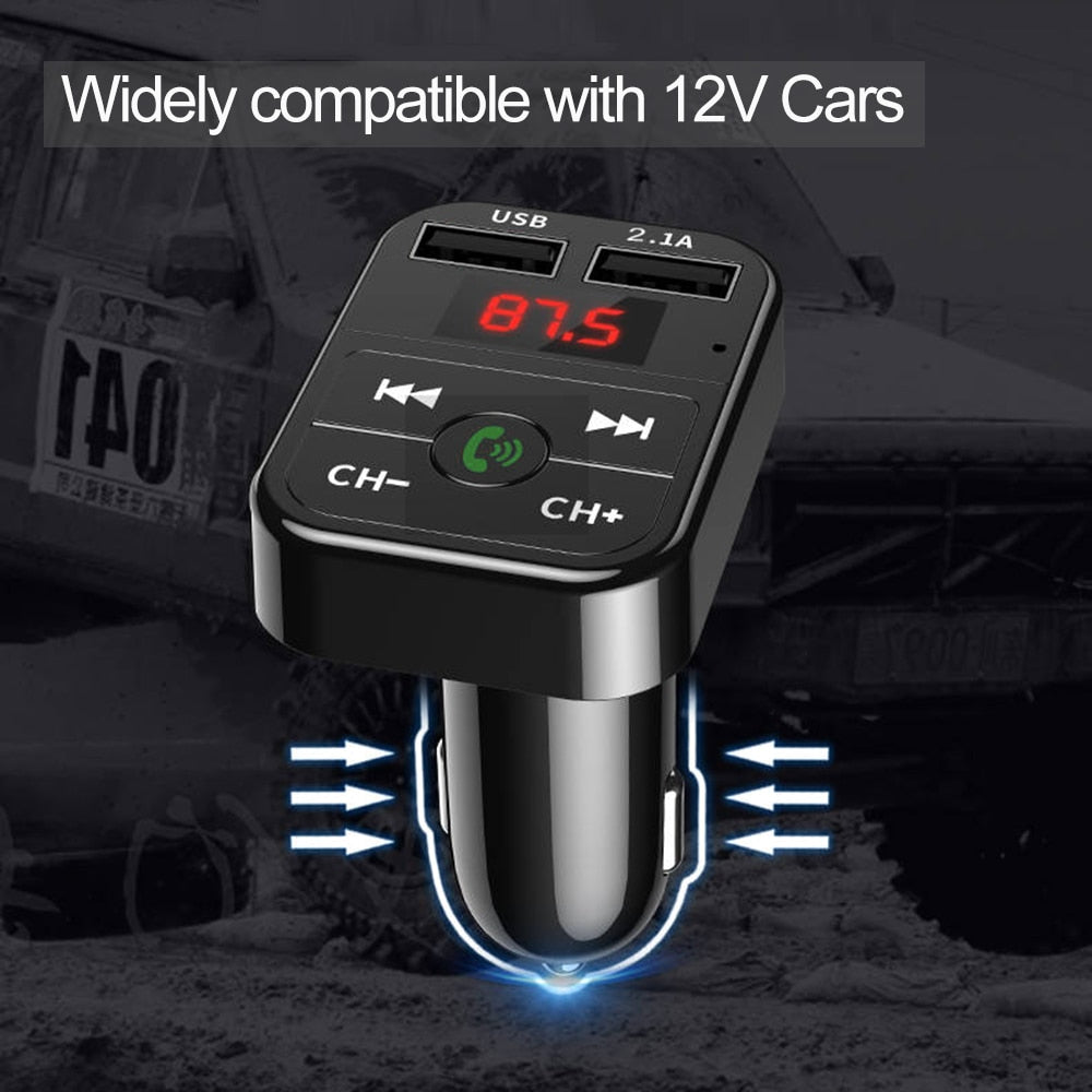 Bluetooth Car Kit Handsfree Set FM Transmitter MP3 Player 5V 4.1A Dual USB