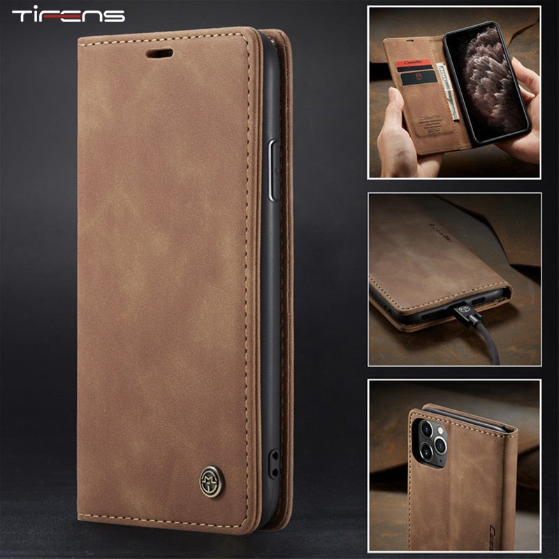 Magnetic Flip Leather Wallet Case For iPhone with Card Slot