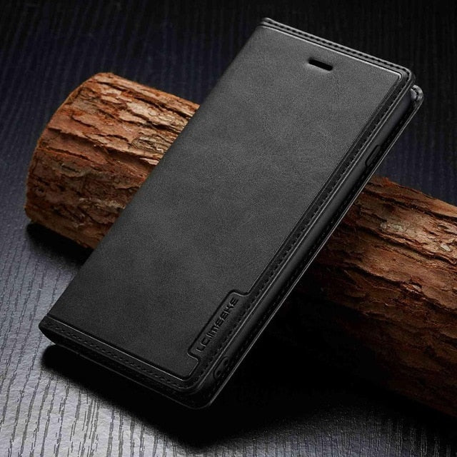 PU Leather Flip Wallet Card Holder Case For iPhone