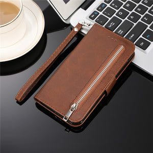 PU Leather Zipper Flip Wallet Case For iPhone