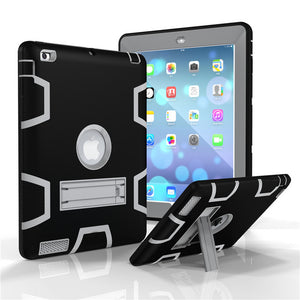 Apple iPad 4 3 2 Armour Shockproof Heavy Duty Silicone Hard Stand Cover