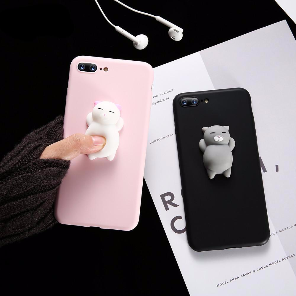 new product 7617f dafc9 Cute Silicon 3D Squishy Cat Cases For iPhone 5s 5 SE 6 6s Plus 7 7 Plus Case