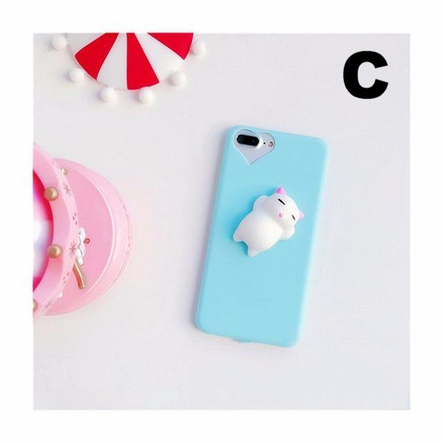 new product 0456b cd043 Cute Silicon 3D Squishy Cat Cases For iPhone 5s 5 SE 6 6s Plus 7 7 Plus Case