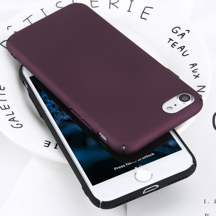 Simple Plain Wine Red Frosted Matte Case For iPhone 6 6s 7 8 Plus