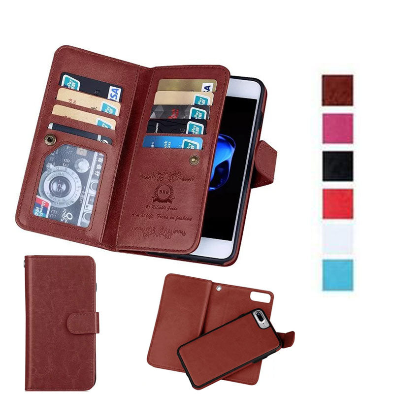 reputable site b2ac3 fa61a Detachable PU Leather iPhone 5 6 6S 7 8 Plus X Wallet Case