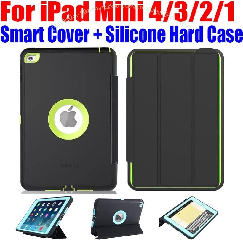 iPad Mini 4/3/2/1 Smart Cover + Silicone TPU Hard Case Kids Safe Shockproof