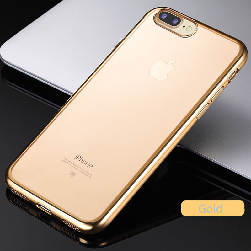 cheap for discount 0a710 f08f1 iPhone 7 Case Luxury Ultra Thin Clear Crystal Rubber Electroplating TPU  Soft Case
